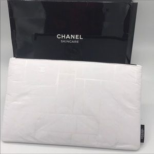 Last one Chanel Beaute  White Cosmetic Pouch Bag